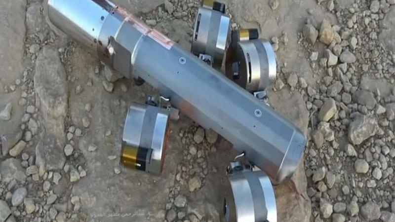 A BLU-108 canister with four submunitions still attached found in the al-Amar area of al-Safraa, Saada governorate, in northern Yemen on April 17. © Private, 2015