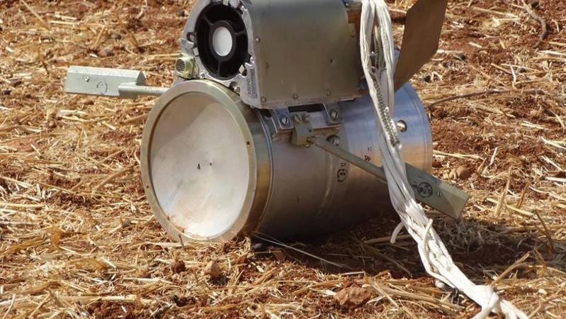 SPBE sensor fuzed submunition in countryside near Kafr Halab, Syria on October 6, 2015.  © 2015 Shaam News Network