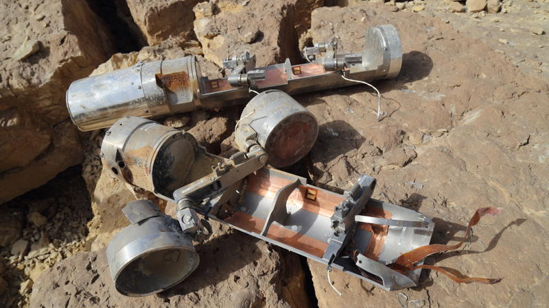 Two BLU-108 canisters, one with with two skeet (submunitions) still attached, found in the al-Amar area of al-Safraa in northern Yemen's Saada governorate after an attack on April 27, 2015.