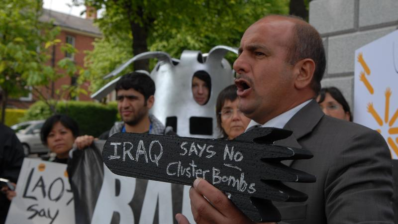 Iraqi cluster munition survivor Mr. Ahmed Najem at a demonstration at the U.S. Embassy in Dublin during the negotiations of the Convention on Cluster Munitions in May, 2008 (c) Mary Wareham, 2008